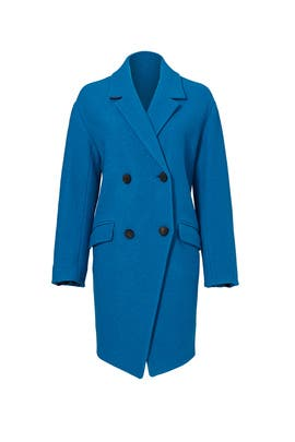 Peacock Blue Finola Coat by Diane von Furstenberg