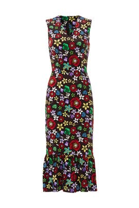 Black Floral Trumpet Dress by Suno
