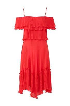 Red Pleated Ruffle Dress by Halston Heritage