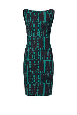 Green Linear Geo Print Slim Dress by Milly