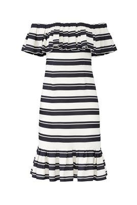 Stripe Flounce Dress by Halston Heritage