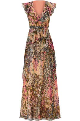Multi Printed Peach Maxi by Badgley Mischka