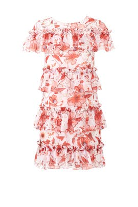 Tiered Ruffle Floral Dress by Badgley Mischka