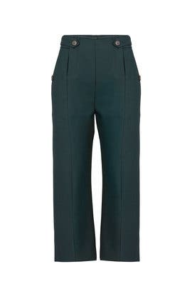 Green Front Slit Pants by Carven