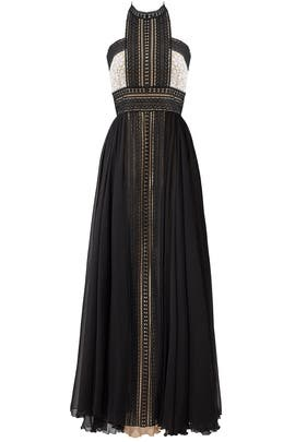 Black Lace Chiffon Gown by NAEEM KHAN