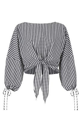 Millie Gingham Tie Blouse by Greylin