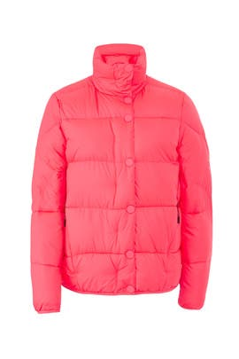 Flouro Pink Puffer Coat by Hunter