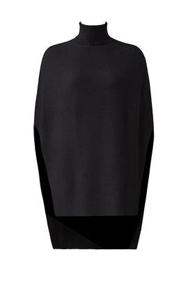Black Turtleneck Poncho by Halston Heritage