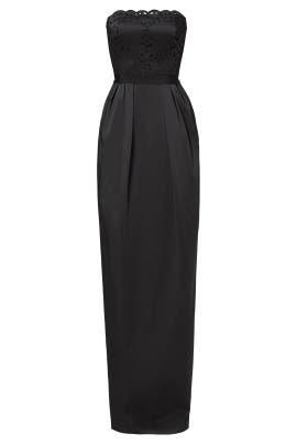 Black Laser Cut Out Gown by ML Monique Lhuillier