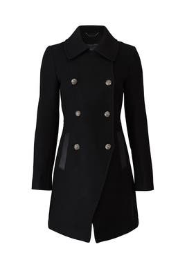Leather Trim Military Peacoat by Trina Turk