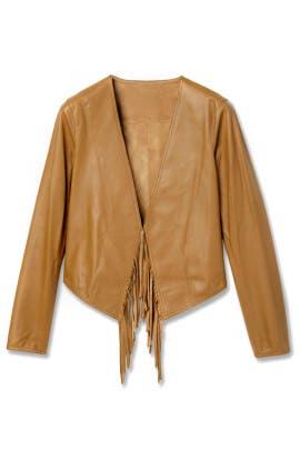 Toffee Fringe Leather Jacket by Derek Lam 10 Crosby