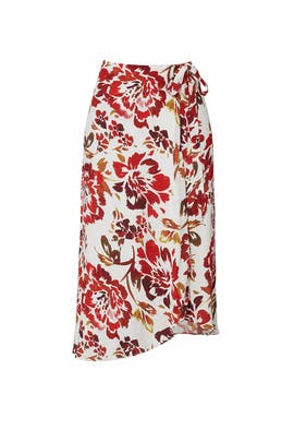 Red Floral Printed Wrap Skirt by Lovers + Friends