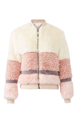 Pink Faux Fur Bomber by John + Jenn