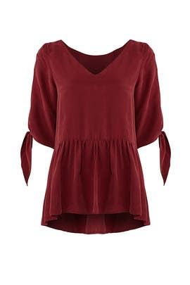 Red Tie Cuff Blouse by Paper Crown