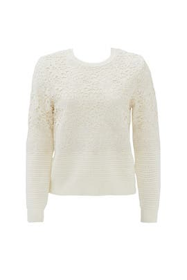 Ivory Pieced Lace Sweater by Tory Burch