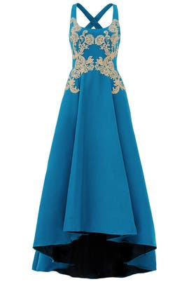 Gilded Royal Teal Gown by Marchesa Notte
