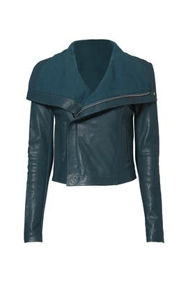 Teal Max Classic Bubble Leather Jacket by VEDA