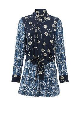 Navy Porcelain Patchwork Romper by 10 CROSBY DEREK LAM