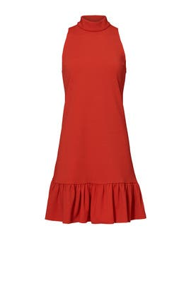 Red Ruffle Hem Dress by Trina Turk