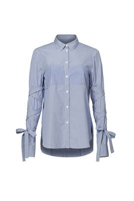 Striped Tie Sleeve Shirt by Tibi