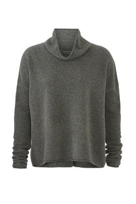 Green Draped Mock Neck Sweater by BROWN ALLAN