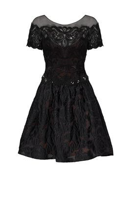 Black Brocade Cocktail Dress by Marchesa Notte