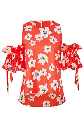 Red Floral Etta Top by Sachin & Babi