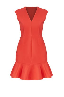 Red Satin Flutter Dress by Carven
