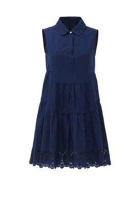 Navy Kit Cotton Eyelet Shirtdress by Diane von Furstenberg