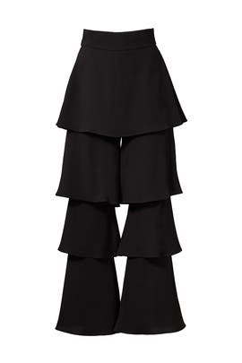 Black Felix Ruffle Trousers by Osman