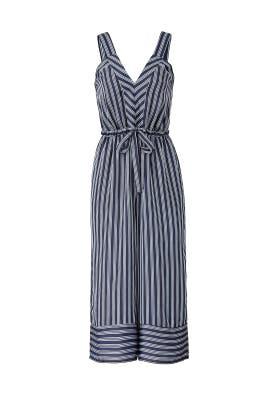 Navy Stripe Crop Jumpsuit by Greylin