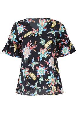 Black Floral Short Sleeve Top by JUNAROSE