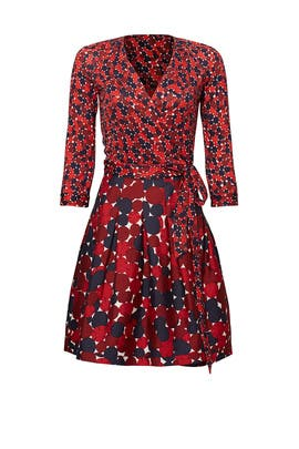 Red Jewel Mikado Wrap Dress by Diane von Furstenberg