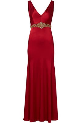 Wine Stretch Satin Gown by Marchesa Notte