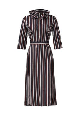 Striped Ruffle Collar Dress by Nina Ricci