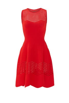 Red Sheer Zag Dress by Antonino Valenti