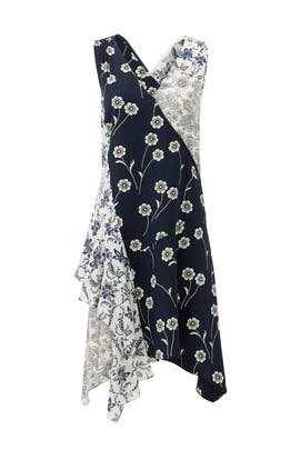 Navy Porcelain Patchwork Dress by 10 CROSBY DEREK LAM