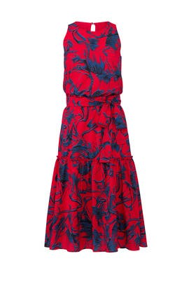 Red Floral Midi Dress by Slate & Willow