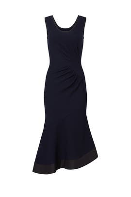 Navy Ruched Asymmetrical Dress by DEREK LAM