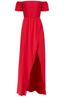 Red Off Shoulder Maxi by Lovers + Friends