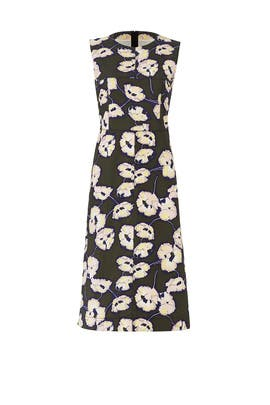 Dark Olive Floral Printed Dress by Marni