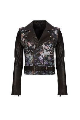 Black Floral Leather Jacket by Parker