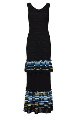 Navy Ruffle Knit Dress by Peter Pilotto