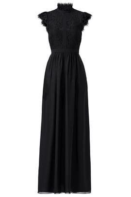 Black Lace Paneled Gown by Rachel Zoe
