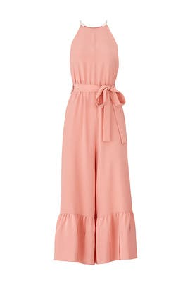 Pink Halter Ruffle Jumpsuit by Tibi