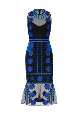 Blue Mesh Flutter Dress by Nicole Miller