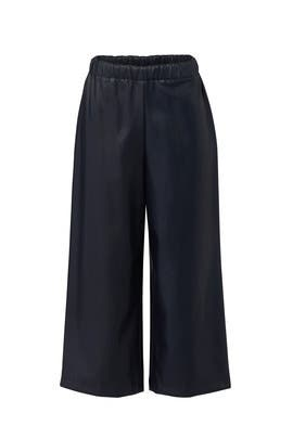 Navy Faux Leather Culottes by Slate & Willow