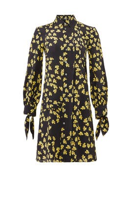 Pleated Floral Shirtdress by DEREK LAM