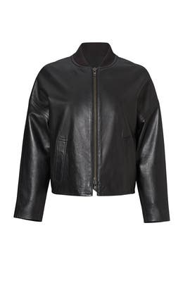 Black Leather Bomber Jacket by VINCE.