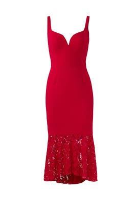 Red Laced Hem Dress by Aidan Mattox